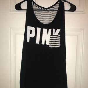 Victoria's Secret PINK black and white striped Tee